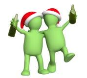 Marionetten 3d, die Weihnachten feiern Lizenzfreie Stockfotos