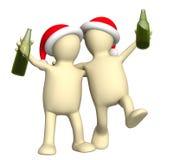 Marionetten 3d, die Weihnachten feiern Stockfoto