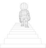 Marionetten 3d mens het lopen treden Stock Foto