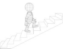 Marionetten 3d mens het lopen treden Stock Fotografie