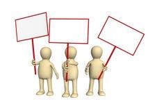 Marionetten die met affiches op demonstratie protesteren Royalty-vrije Stock Afbeelding