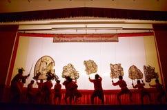 Marionetten-Schatten-Spiel Nang Yai bei Wat Khanon National Museum, Ratcha Buri Thailand Lizenzfreies Stockbild