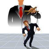 MarionettenGeschäftsmann auf Seilen Lizenzfreies Stockfoto