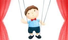 Marionettenjongen op het stadium Vector Illustratie