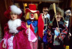Marionettes puppets. Marionettes or string puppets in colorful costumes stock image