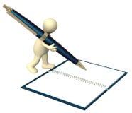 marionnette 3d avec un crayon lecteur Images libres de droits