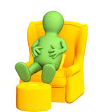 marionnette 3d, ayant un reste dans un fauteuil mou Photo stock