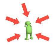 marionnette 3d, exposée à la critique et aux insultes Photos libres de droits