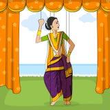 Marionnette de Rajasthani faisant la danse folklorique de Koli du maharashtra, Inde illustration stock