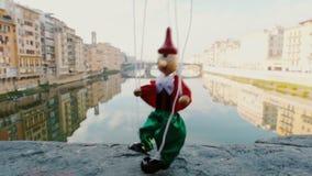 Marionnette Pinocchio de vintage de Florence Italie banque de vidéos