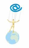 Marionnette sur le globe Photos libres de droits