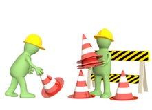 marionnettes 3d avec des cônes de secours Photos stock