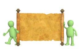 marionnettes 3d avec le manuscrit antique Images stock