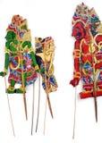 Marionnettes d'ombre handcrafted par antiquité Photographie stock