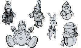 Marionnettes de Noël - tirées par la main Photos libres de droits