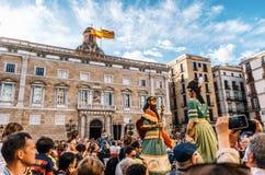 Marionnettes géantes Gigantes du festival de Corpus Christi, Barcelone Image stock