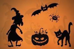Marionnettes noires d'ombre des créatures de Halloween images stock