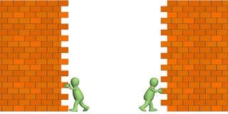 Marionnettes produisant le passage dans un mur de briques illustration libre de droits