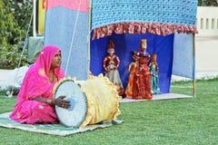 Marionnettistes de déplacement de troupes du Ràjasthàn Inde Photo libre de droits