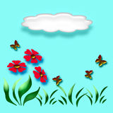 mariposa 3d y flor Imagen de archivo libre de regalías