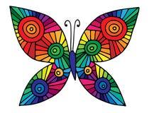 Mariposa abstracta colorida para la tarjeta de felicitación, libro de colorear, adentro Fotografía de archivo libre de regalías