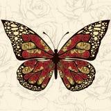 Mariposa abstracta con los ornamentos de las flores de las rosas Foto de archivo
