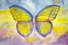 Mariposa amarilla y azul Pintura de la acuarela Imagen de archivo libre de regalías