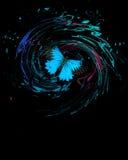 Mariposa azul con el chapoteo y los remolinos Imágenes de archivo libres de regalías