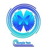 Mariposa azul en logotipo del remolino Fotografía de archivo libre de regalías