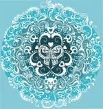 Mariposa blanca decorativa en círculo ornamental Imagen de archivo libre de regalías
