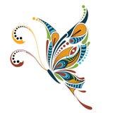 Mariposa coloreada modelada Diseño africano/del indio/del tótem/del tatuaje Fotografía de archivo