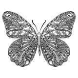 Mariposa con el modelo étnico del garabato Zentangle inspiró el modelo para las páginas antis del libro de colorear de la tensión Foto de archivo