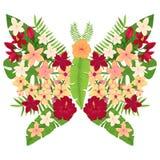 Mariposa con las flores rojas y amarillas Ilustración del vector Foto de archivo libre de regalías