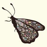 Mariposa con los modelos Alas con los ornamentos orientales multicolores en boho del estilo Imágenes de archivo libres de regalías