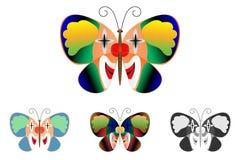 Mariposa con una imagen de un payaso en las alas Imágenes de archivo libres de regalías