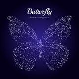 Mariposa de estrellas en un fondo/una mariposa azules de la constelación Imágenes de archivo libres de regalías