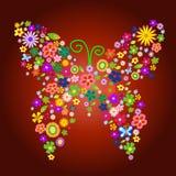 Mariposa de la flor del resorte stock de ilustración