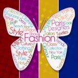 Mariposa de la moda sobre fondo colorido stock de ilustración