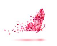 Mariposa de pétalos color de rosa stock de ilustración
