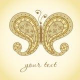 Mariposa de Paisley. Doodle adornado a mano Foto de archivo libre de regalías