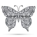 Mariposa decorativa blanco y negro, mano dibujada Foto de archivo libre de regalías