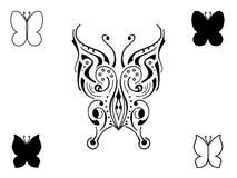 Mariposa decorativa del tatuaje Imagen de archivo