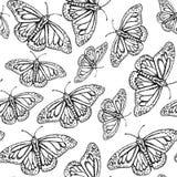 Mariposa del bosquejo, modelo inconsútil del vintage del vector stock de ilustración