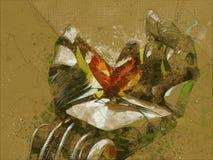mariposa del brazo del robot stock de ilustración