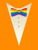 Mariposa del lazo del arco iris del lgbt del símbolo y traje anaranjado Fotos de archivo