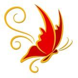 Mariposa del rojo del logotipo ilustración del vector