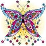 Mariposa del vintage de la primavera de la fantasía stock de ilustración