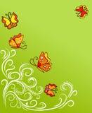 Mariposa del vintage y planta que sube Foto de archivo libre de regalías