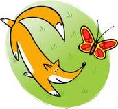 Mariposa divertida de las cazas de zorro Imagen de archivo