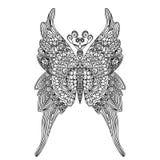 Mariposa en el estilo de la mandala para el libro de colorear de los adultos Papel antiesfuerzo del colorante Modelo de Zentangle Foto de archivo libre de regalías
